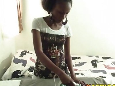 African babe gets cunt stretched by white cock