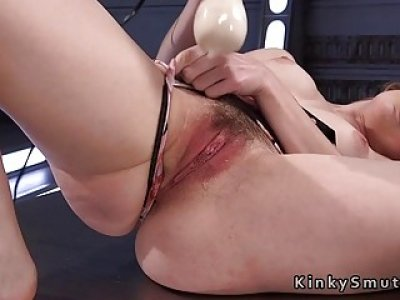 Hairy cunt redhead on fucking machine