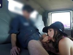 Brunette sluts share throbbing cock in tow truck