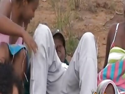 African slave enjoys banging in group outdoors
