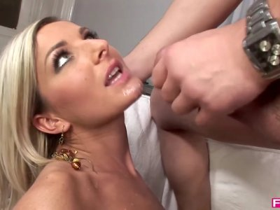 Valentine's dick sucking feels better with horny Vanessa