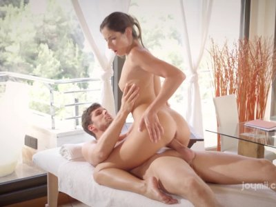 Classy babe Clea massaged and royally fucked