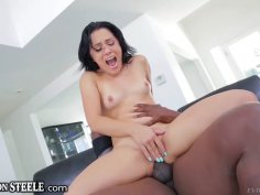 Petite doll makes a massive BBC disappear in her tight cunt