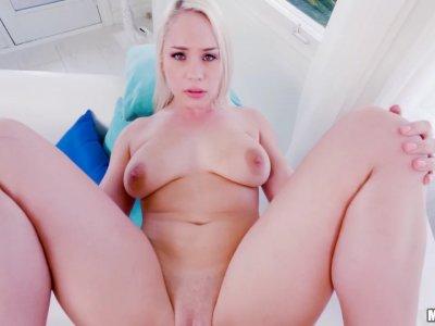 Curvy blonde does her cock magic balls deep