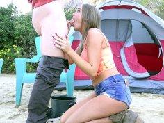 Alexis Adams jerks and sucks hard cock outdoor