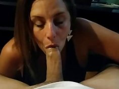 Hot latina wife gives a delicious blowjob and faci