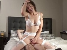Amateur brunette wears lacy lingerie while enjoying the hard fucking