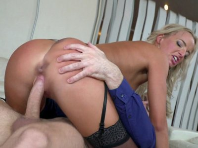 Stunning blonde Victoria Pure rides the guy in cowgirl pose
