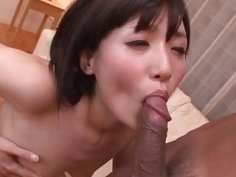 Tsukushi blows before enjoying cock in her shaved