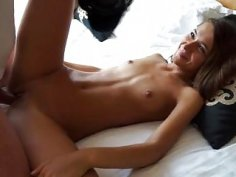 Cute girl fucks him hard with her sexy small tits