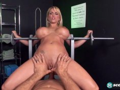 Horny Holly will make you workout in her asshole