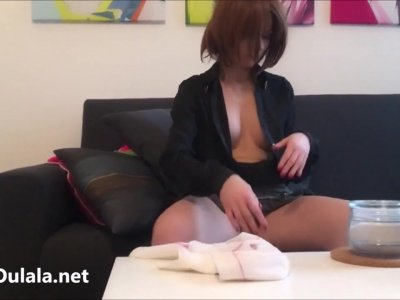 Cute wench teases with her juicy tits hot downblouse action