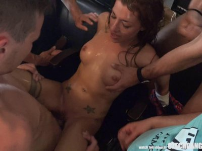 Slutty Twins Destroyed at GangBang