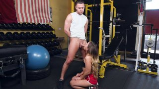 Teen Cleo Vixen sucking the big cock in the gym