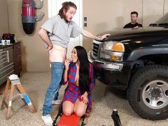 Skyla Novea is sucking Brick Danger's cock and her dad is none the wiser