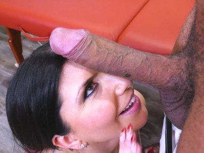 Romi Rain orally worships the big black cock