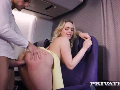 Blonde temptress Mia Malkova fucks hard in a public plane