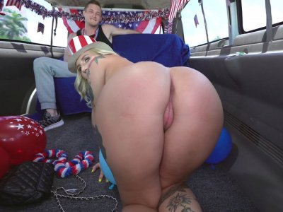 Stella Raee shows off her ass and tits in the bangbus