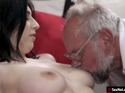 Busty 19yo Sheril Blossom rides old guy