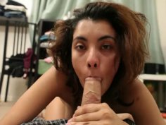 Hot pornstar Maya Morena sucks cock after having a hangover