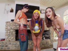 Three latina babes manhandled Marks big cock