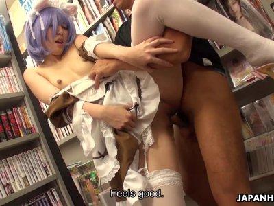 Sweet Japanese girl Miku Oguri pussy pounded hard