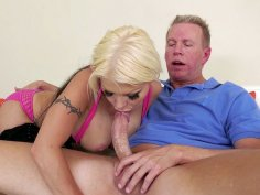 Blonde Barbie Sins orally serves Mark Wood