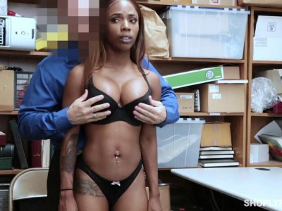 Ebony shoplifting bitch punished and fucked by a deviant cop