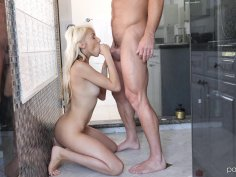 Skinny blonde swallows thick cock and fucks in the shower