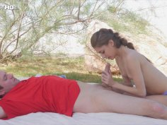 Pretty teen rubs her twat and sucks a dick outdoors
