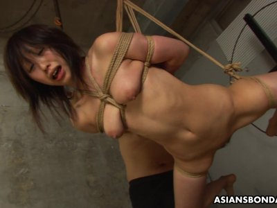 Submissive Asian bimbo Kana Sato gets roped and su