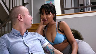 Ebony teen deepthroats a thick white dick