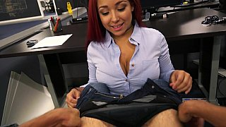 Redhead sucks at the office