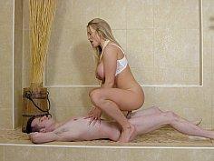 Busty blonde MILF rides stepson's big dick