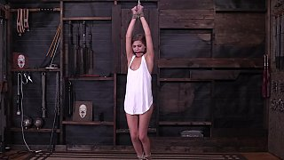 Supple teen suspended and bound