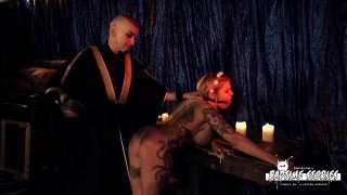 Busty tattooed chick wants a maledom BDSM session with deviant
