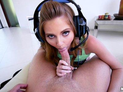 Cute gamer girl plays call of duty and sucks dick