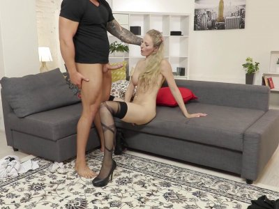 Buxom blonde chick in stockings has a wild fuck session