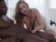 Dirty white slut handles a big black cock interracial porn