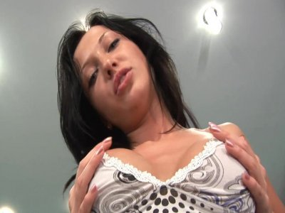 Sexy brunette Asya plays with her pussy and tits