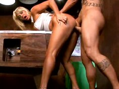 Hot blonde milf fucks hardcore on the pool table