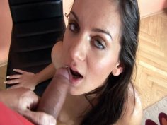 Russian beauty Kate gives blowjob sitting in doggy position