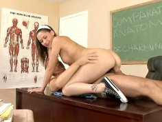 Slutty college girl Kandi Milan fucks teacher in the classroom