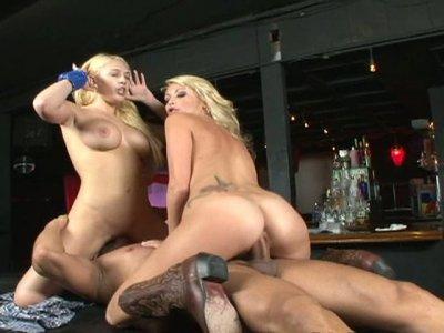 Busty sluts Kagney Linn Karter and Monique Alexander have threesome fuck