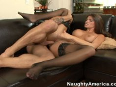 Latino maid Madelyn Marie rides on cock