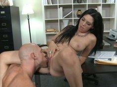 Cuddly Megan Foxxx enjoys her boss on the table.