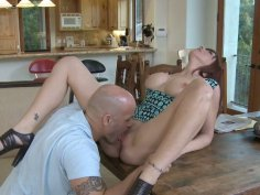 Redhead Lexi Lamour giving hot blowjob and getting her holes licked hard
