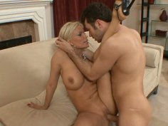 Dirty blondie rides and sucks a strong dick