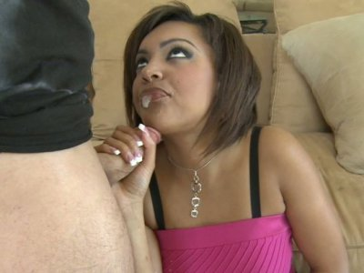 Naughty girl Catalina Taylor giving blowjob spitting on it and hammered doggy style