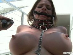 Helpless June Summers gets her pussy and busty tits pumped to the new level